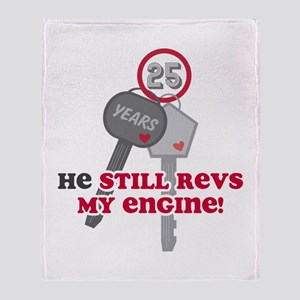 He Revs My Engine 25 Throw Blanket