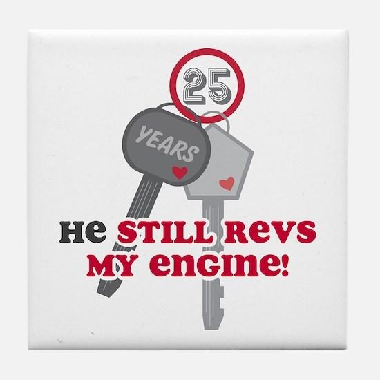 He Revs My Engine 25 Tile Coaster
