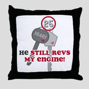He Revs My Engine 25 Throw Pillow