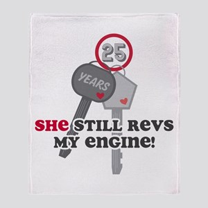She Revs My Engine 25 Throw Blanket