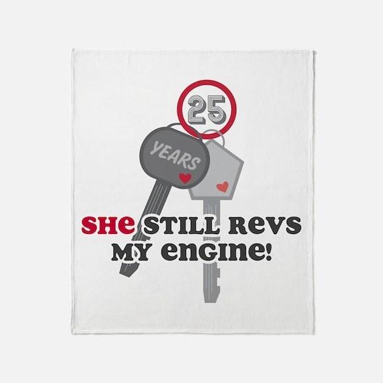 She Revs My Engine 25 Throw Blanket