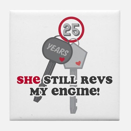 She Revs My Engine 25 Tile Coaster