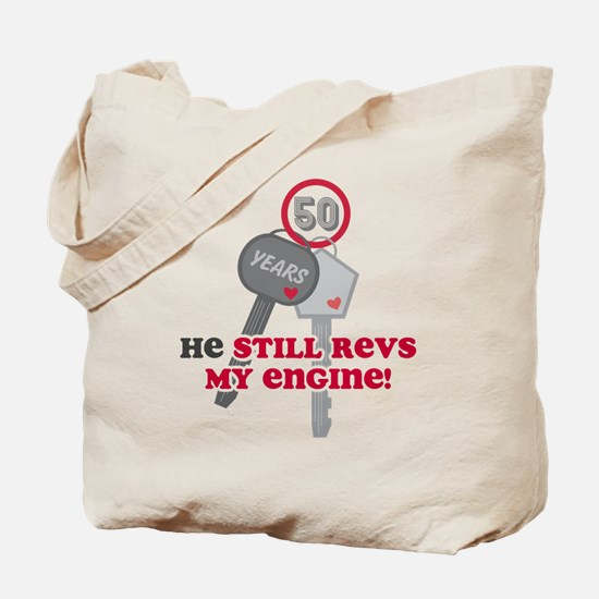 He Revs My Engine 50 Tote Bag