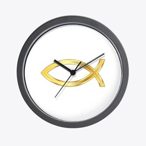 LARGE CHRISTIAN FISH Wall Clock