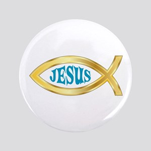 "CHRISTIAN FISH JESUS 3.5"" Button"