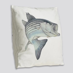 Stripe Bass Burlap Throw Pillow