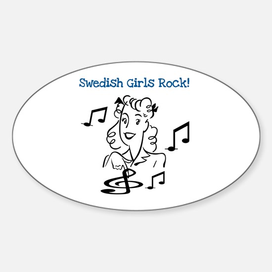 Swedish Girls Rock Oval Stickers