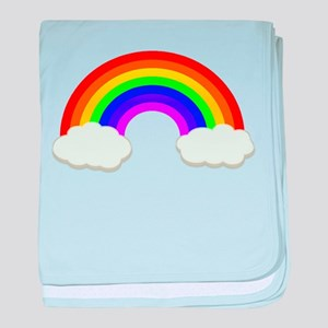 Rainbow in the clouds baby blanket
