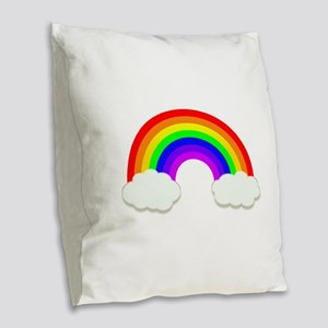 Rainbow in the clouds Burlap Throw Pillow