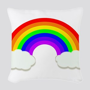 Rainbow in the clouds Woven Throw Pillow