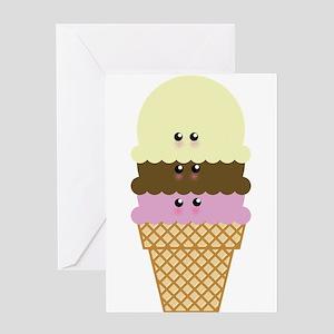 Kawaii Ice Cream Cone Greeting Cards