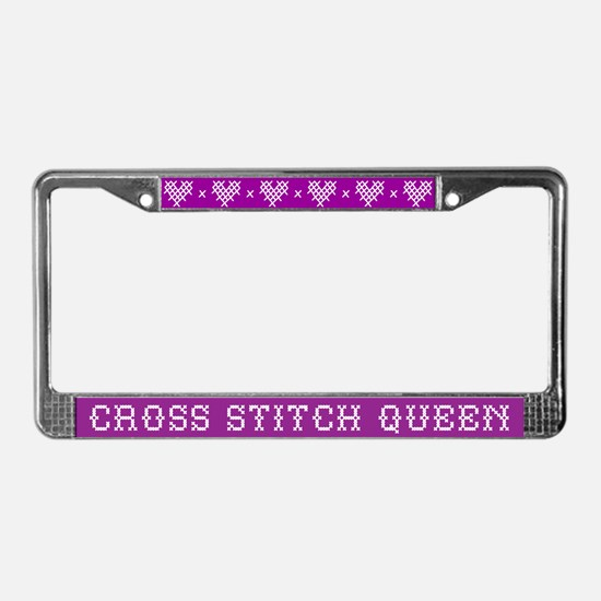 Cross Stitch Queen License Plate Frame
