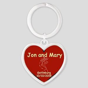 Jon and Mary Heart Keychains