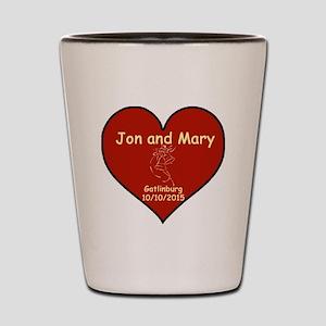 Jon and Mary Heart Shot Glass