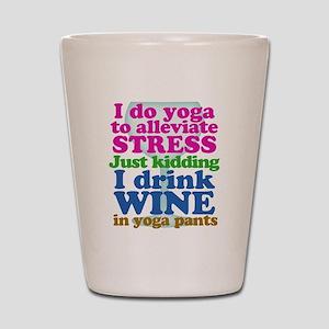 Yoga vs Wine Humor Shot Glass