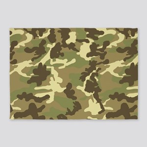Green Camouflage Pattern 5'x7'Area Rug
