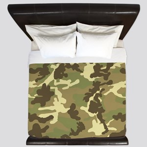 Green Camouflage Pattern King Duvet