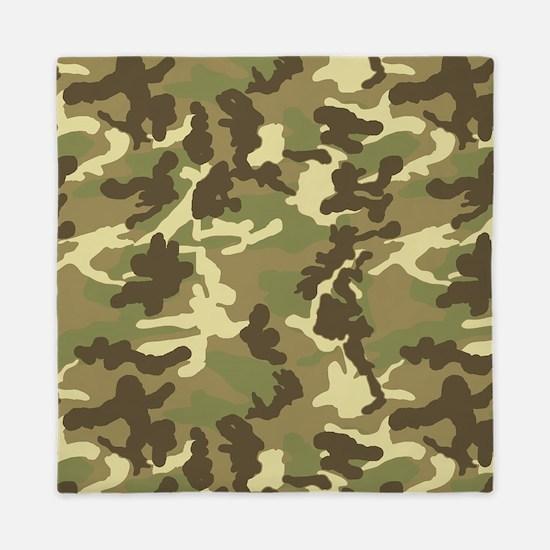 Green Camouflage Pattern Queen Duvet