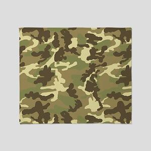 Green Camouflage Pattern Throw Blanket