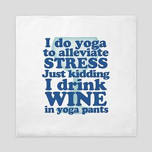Yoga vs Wine Humor Queen Duvet