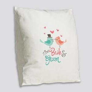 The Bride & Groom Burlap Throw Pillow