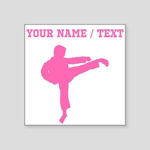 Pink Karate Kick Silhouette (Custom) Sticker