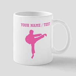Pink Karate Kick Silhouette (Custom) Mugs