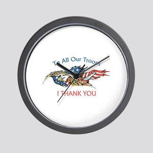 I THANK OUR TROOPS Wall Clock