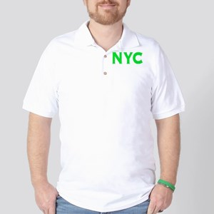 NYC new york city bright green initials Golf Shirt