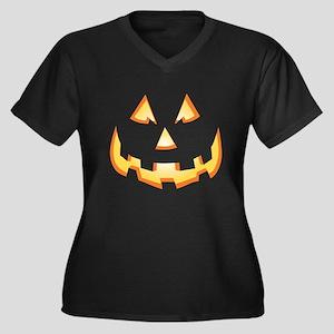 Jack-O'-Lantern Women's Plus Size V-Neck Dark T-Sh