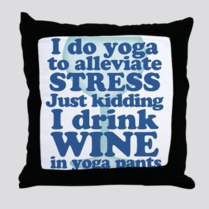 Yoga vs Wine Humor Throw Pillow