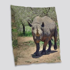 Rhinoceros Burlap Throw Pillow
