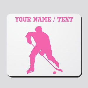 Pink Hockey Player Silhouette (Custom) Mousepad