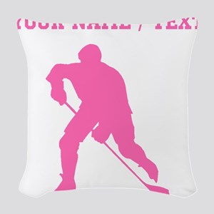 Pink Hockey Player Silhouette (Custom) Woven Throw