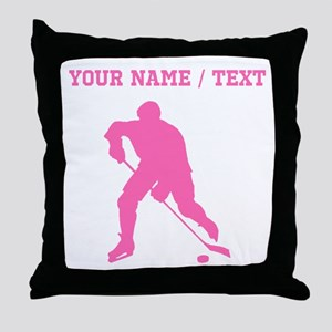 Pink Hockey Player Silhouette (Custom) Throw Pillo