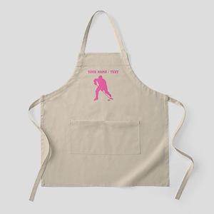 Pink Hockey Player Silhouette (Custom) Apron