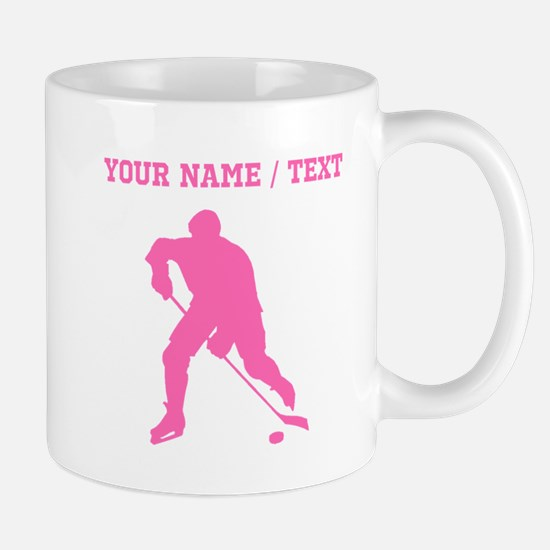 Pink Hockey Player Silhouette (Custom) Mugs