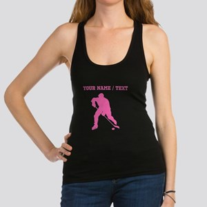 Pink Hockey Player Silhouette (Custom) Racerback T