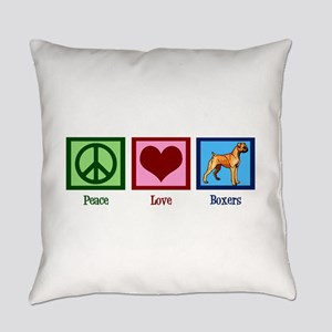 Peace Love Boxer Dog Everyday Pillow