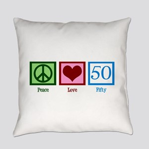 Peace Love 50 Everyday Pillow