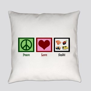 Peace Love Sushi Everyday Pillow