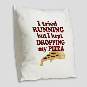 Lazy Pizza Lover Burlap Throw Pillow