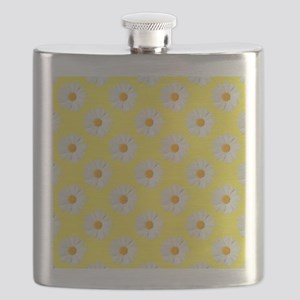 Daisy Flower Pattern Yellow Flask
