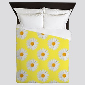 Daisy Flower Pattern Yellow Queen Duvet