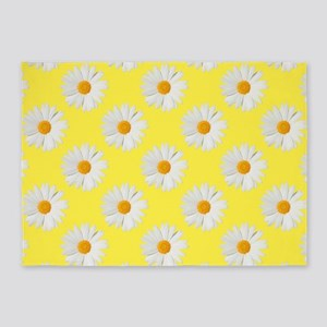 Daisy Flower Pattern Yellow 5'x7'Area Rug