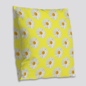 Daisy Flower Pattern Yellow Burlap Throw Pillow