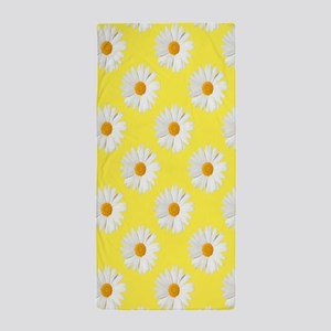 Daisy Flower Pattern Yellow Beach Towel