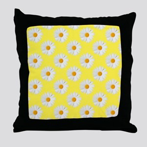 Daisy Flower Pattern Yellow Throw Pillow