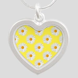 Daisy Flower Pattern Yellow Silver Heart Necklace