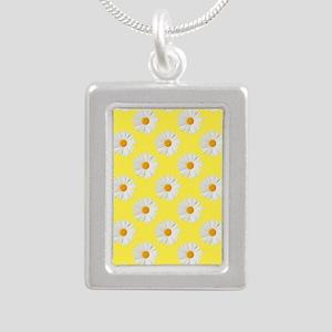 Daisy Flower Pattern Yel Silver Portrait Necklace